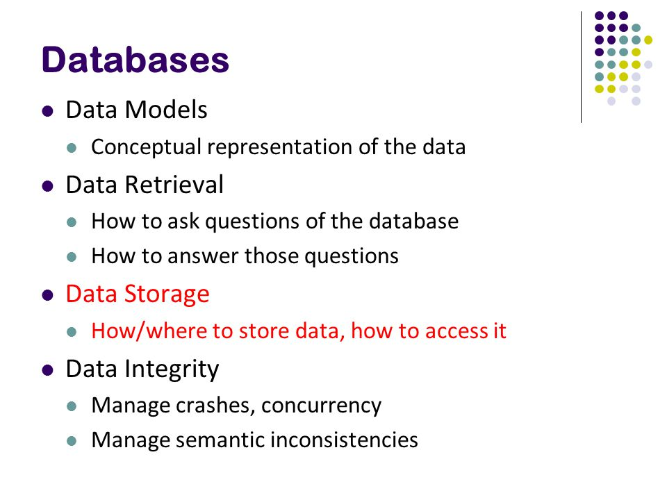 Databases Data Models Data Retrieval Data Storage Data Integrity