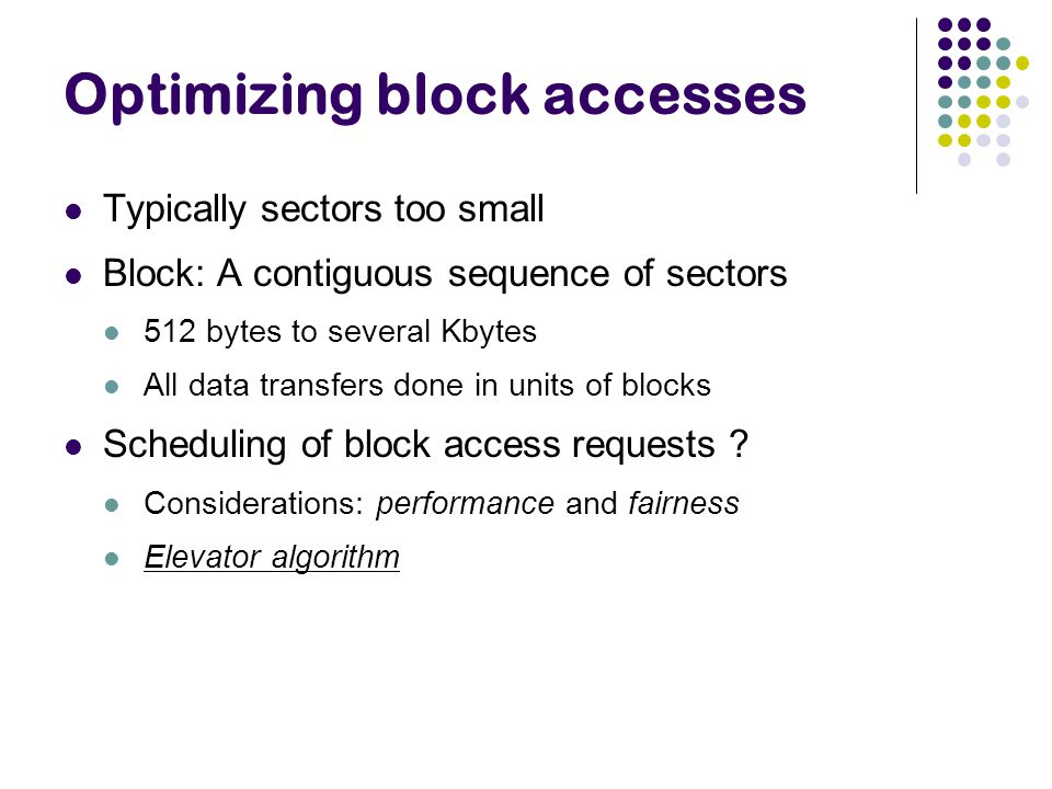 Optimizing block accesses