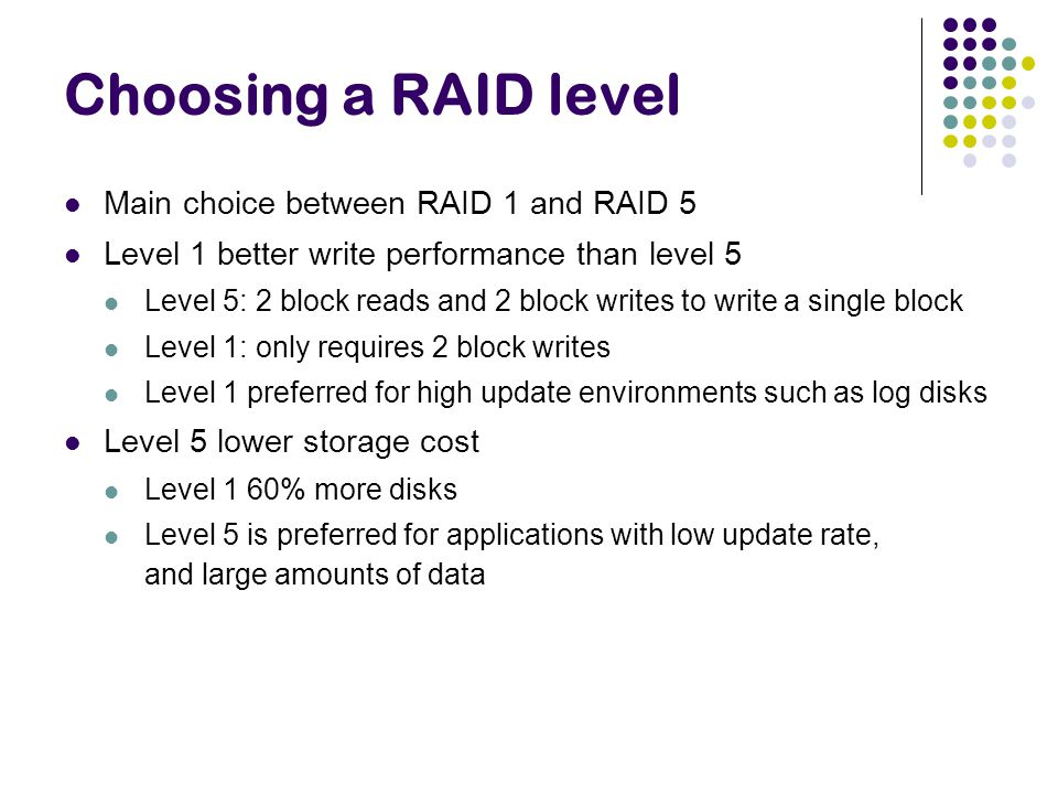 Choosing a RAID level Main choice between RAID 1 and RAID 5