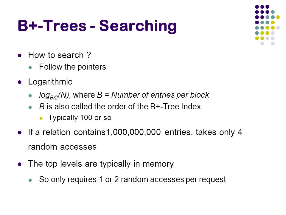 B+-Trees - Searching How to search Logarithmic