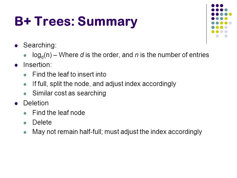 B+ Trees: Summary Searching: Insertion: Deletion