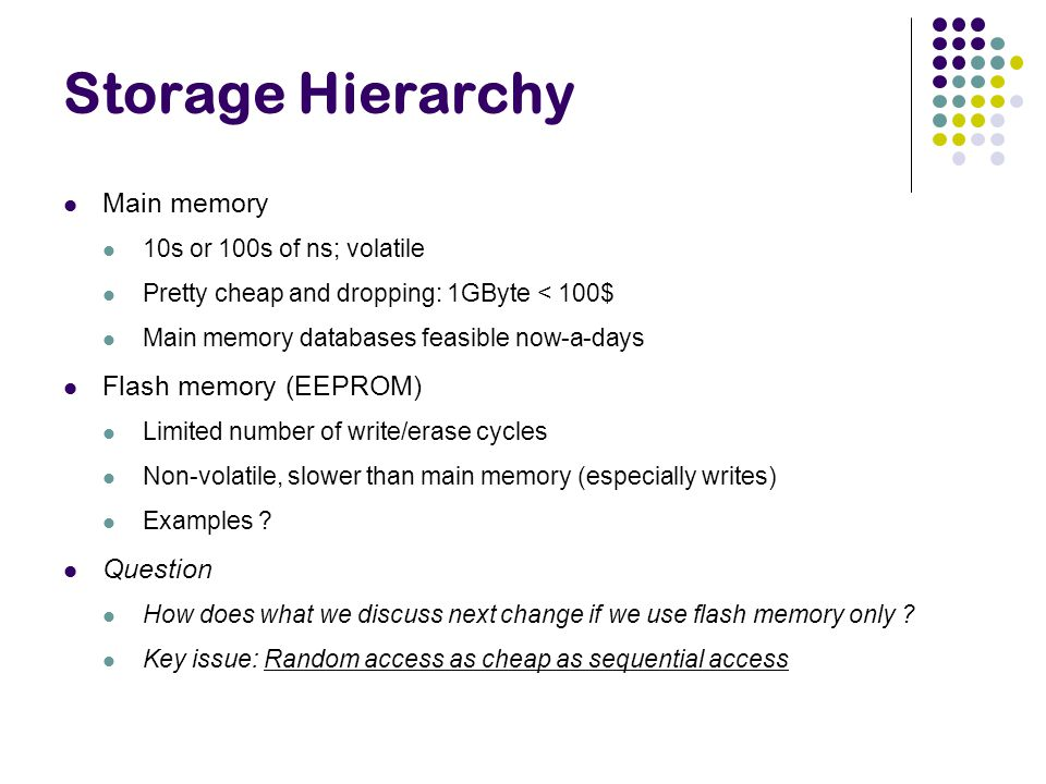 Storage Hierarchy Main memory Flash memory (EEPROM) Question