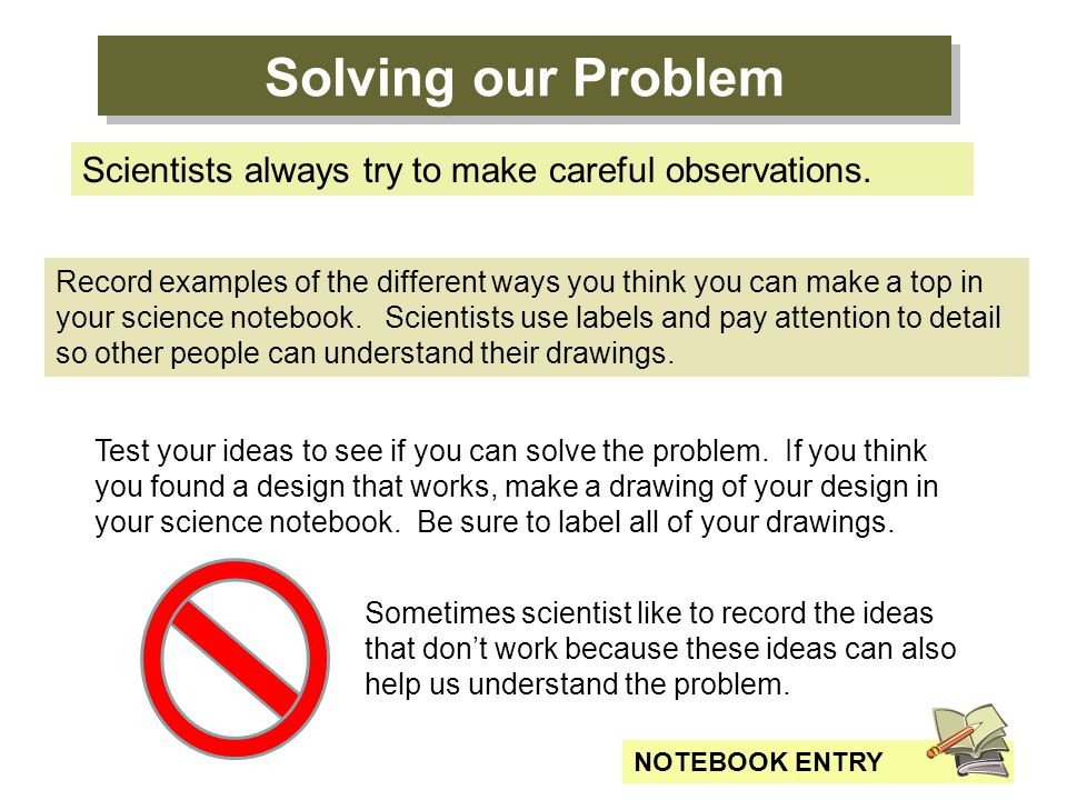 Solving our Problem Scientists always try to make careful observations.