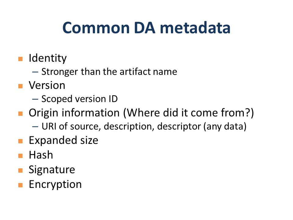Common DA metadata Identity Version
