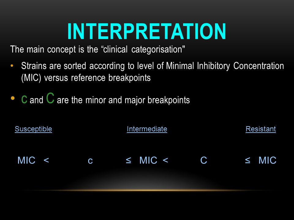 Interpretation c and C are the minor and major breakpoints