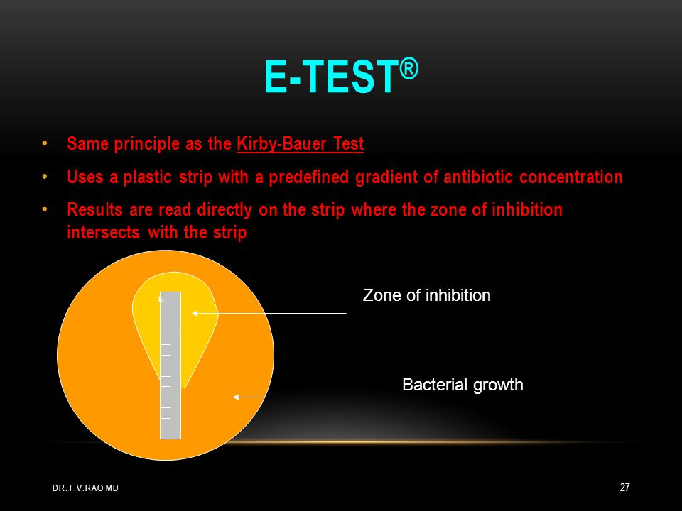 E-test® Same principle as the Kirby-Bauer Test