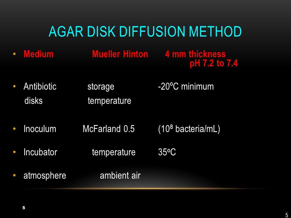 Agar disk diffusion method