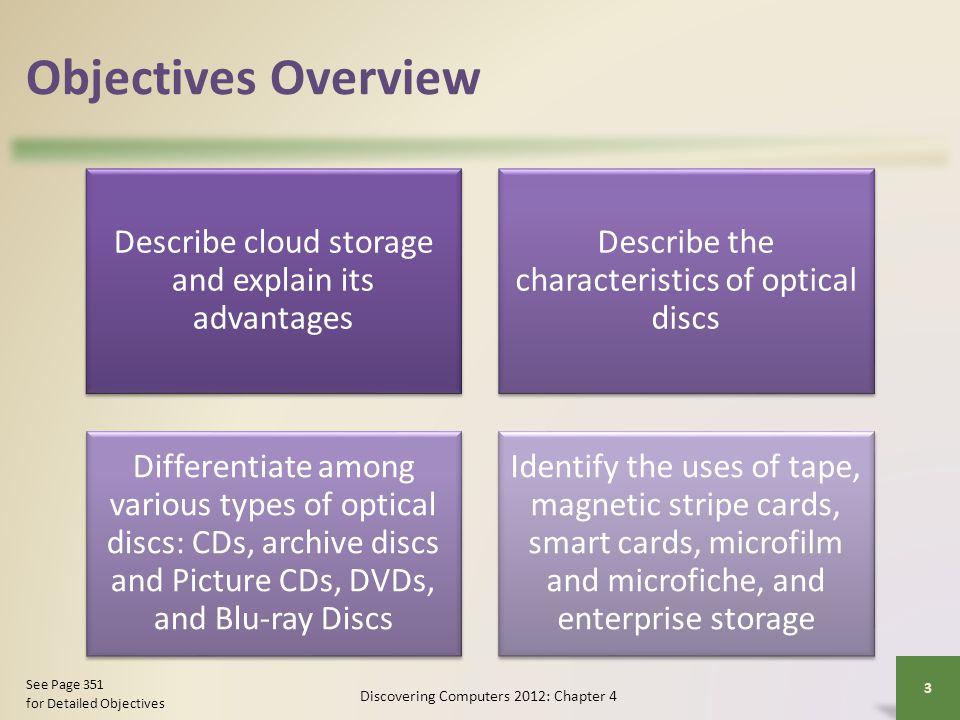 Objectives Overview Describe cloud storage and explain its advantages