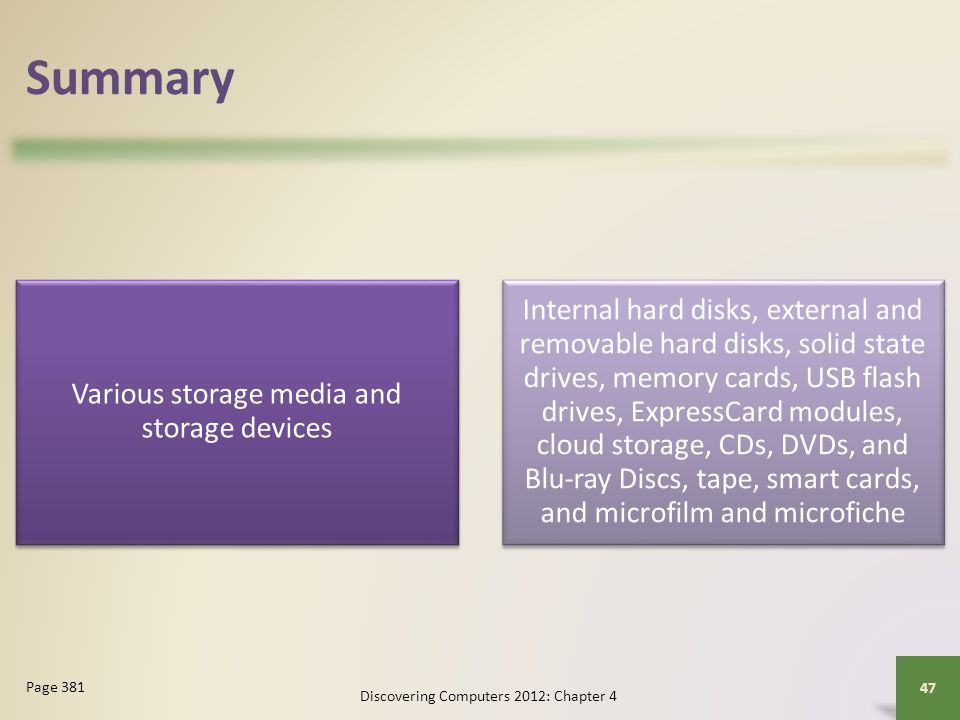 Summary Various storage media and storage devices.