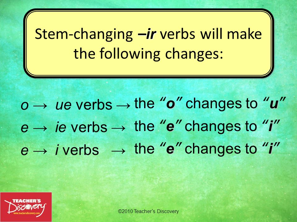 Stem-changing –ir verbs will make the following changes: