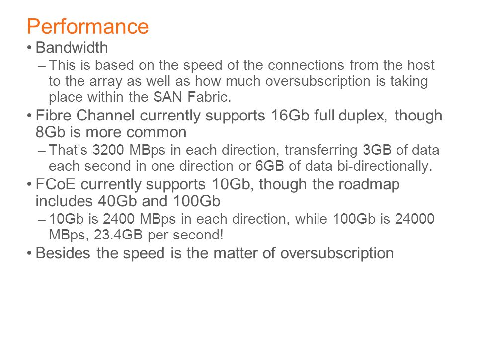 Performance Bandwidth