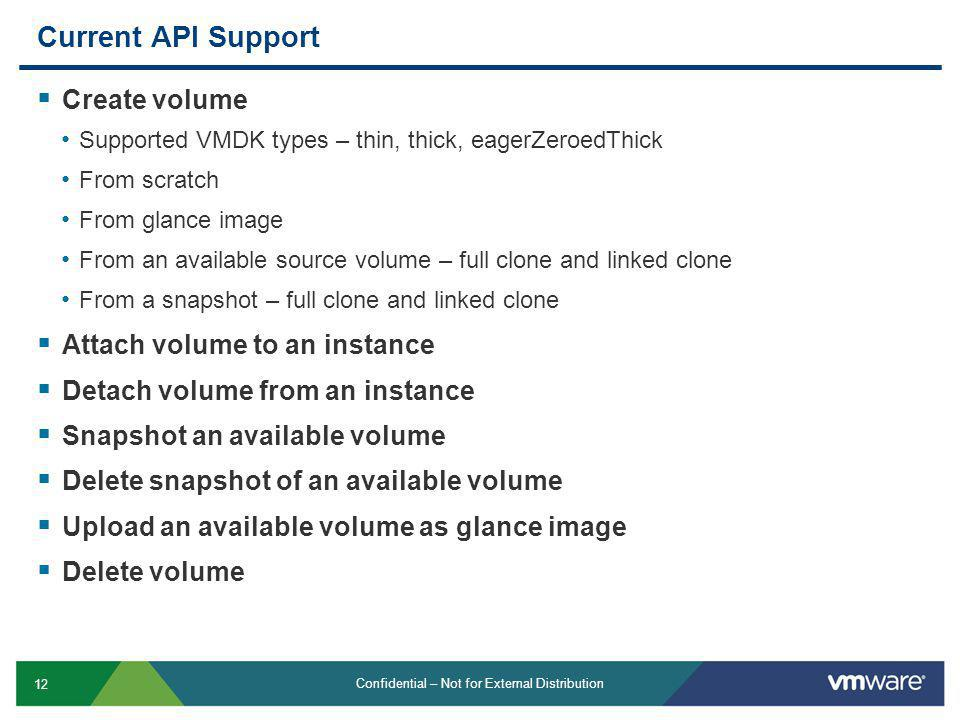 Current API Support Create volume Attach volume to an instance