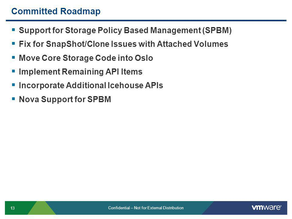 Committed Roadmap Support for Storage Policy Based Management (SPBM)