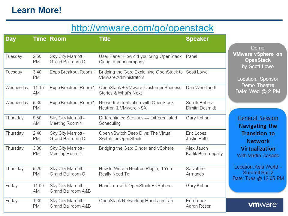http://vmware.com/go/openstack Learn More! General Session