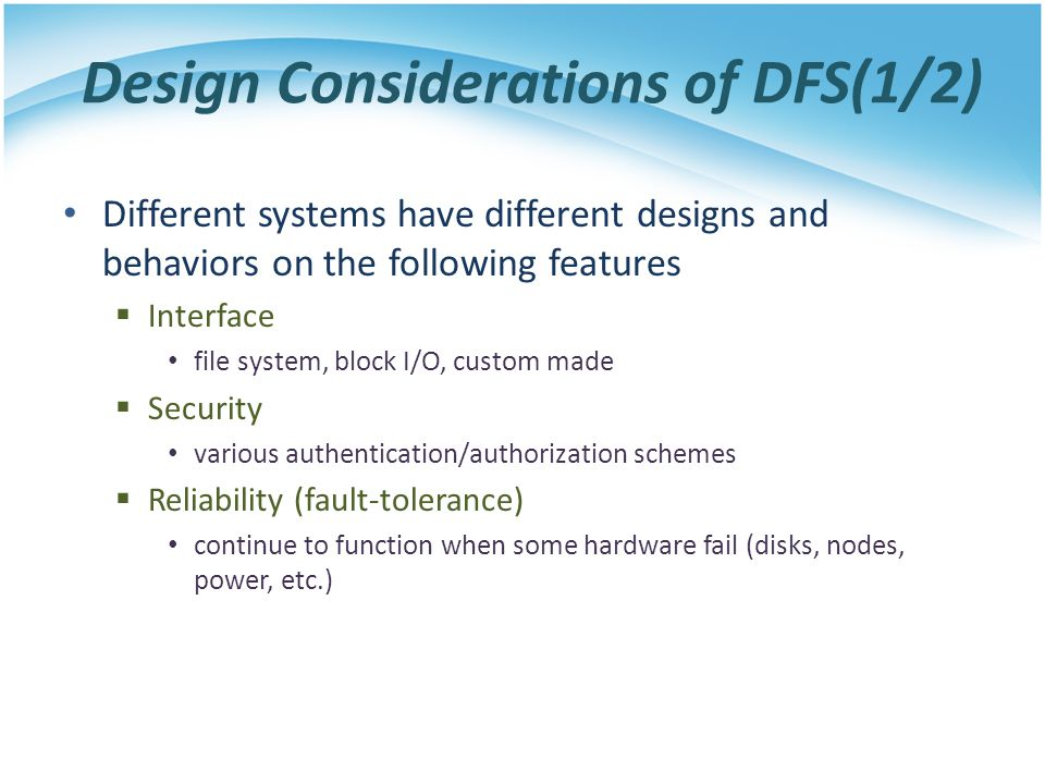 Design Considerations of DFS(1/2)
