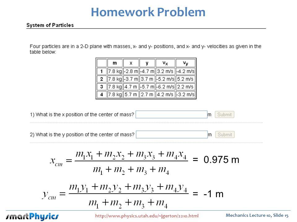 Homework Problem = 0.975 m = -1 m
