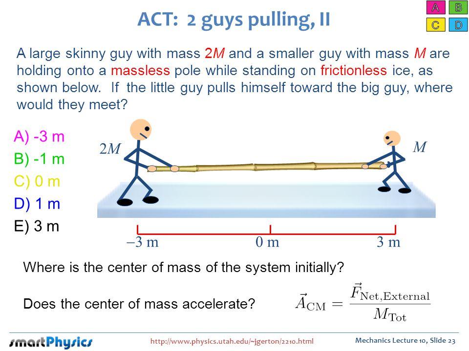ACT: 2 guys pulling, II 2M M A) -3 m B) -1 m C) 0 m D) 1 m E) 3 m -3 m