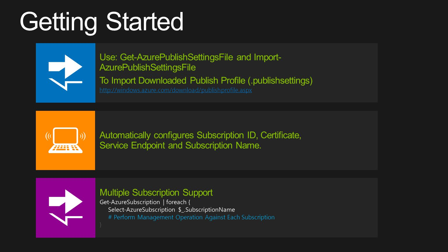 Getting Started Use: Get-AzurePublishSettingsFile and Import-AzurePublishSettingsFile. To Import Downloaded Publish Profile (.publishsettings)