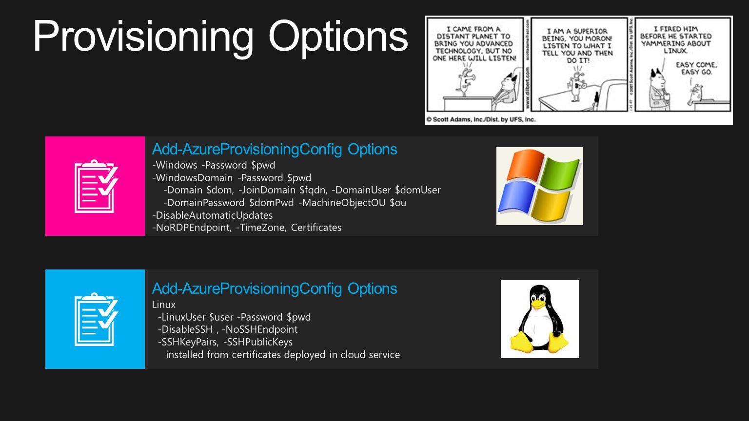 Provisioning Options Add-AzureProvisioningConfig Options