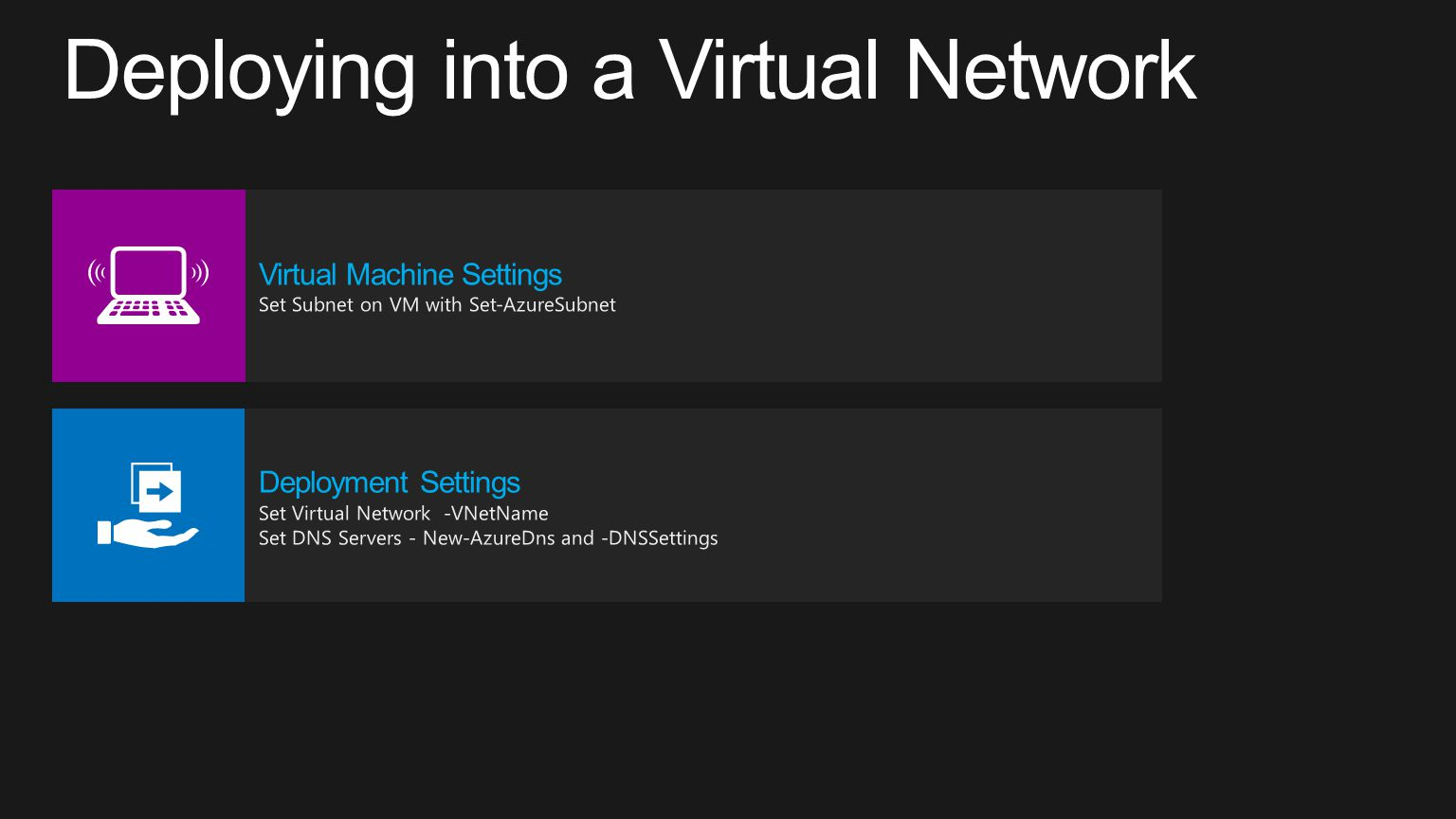 Deploying into a Virtual Network