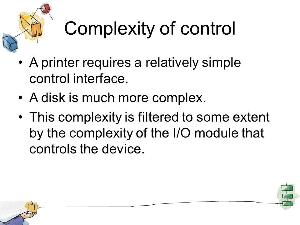 Complexity of control A printer requires a relatively simple control interface. A disk is much more complex.
