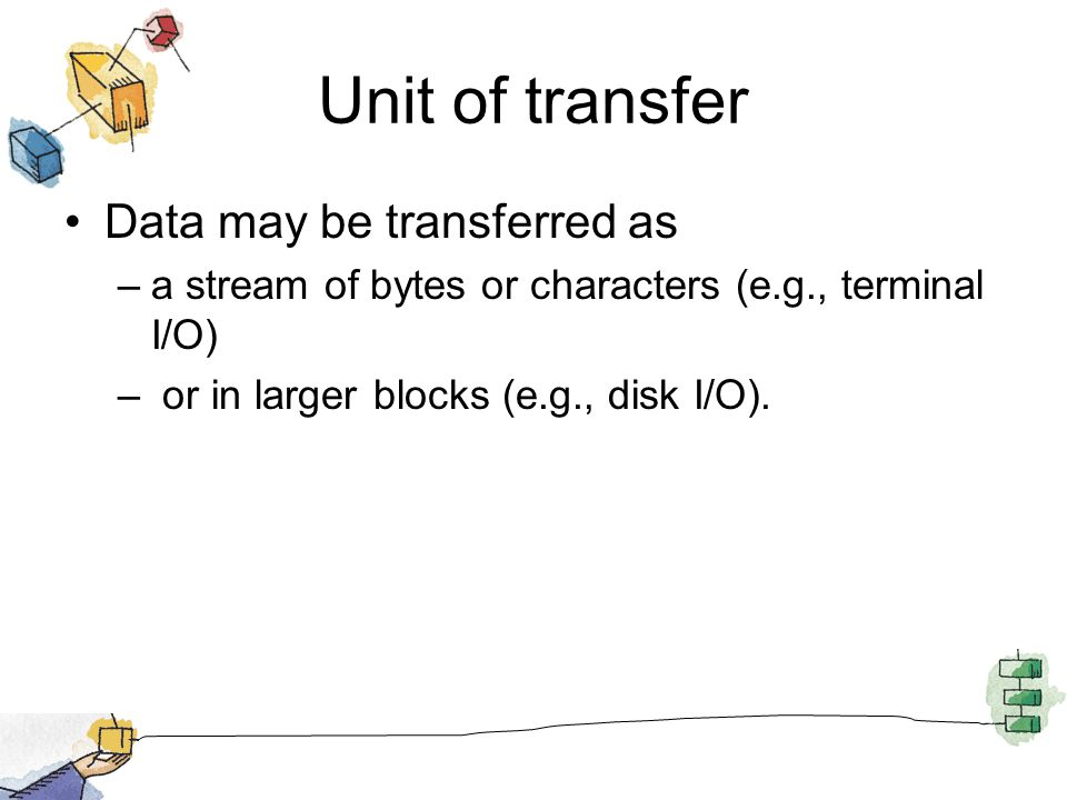 Unit of transfer Data may be transferred as