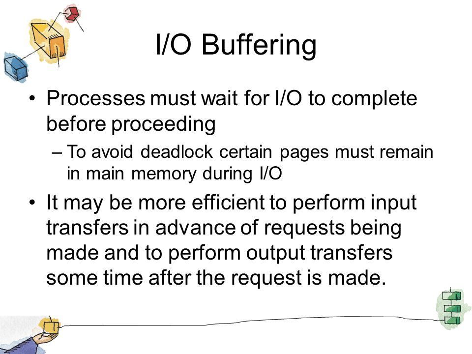 I/O Buffering Processes must wait for I/O to complete before proceeding. To avoid deadlock certain pages must remain in main memory during I/O.