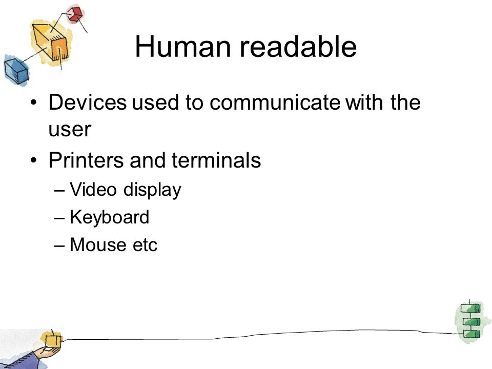Human readable Devices used to communicate with the user