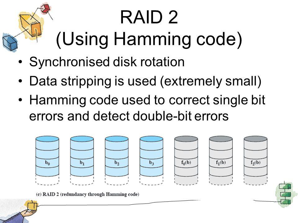 RAID 2 (Using Hamming code)