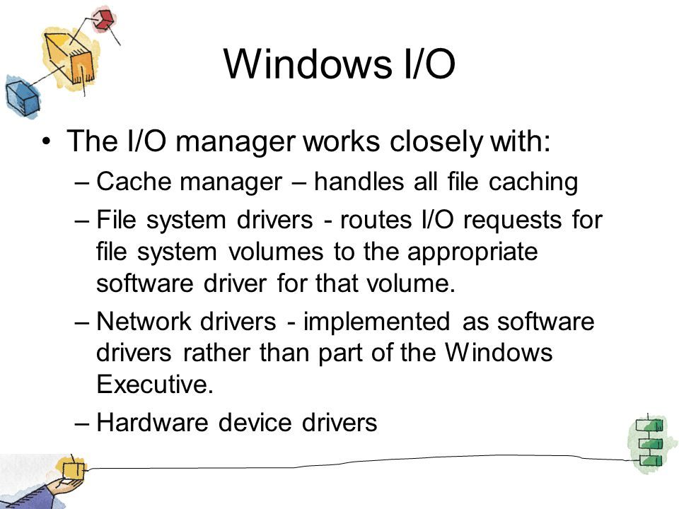 Windows I/O The I/O manager works closely with: