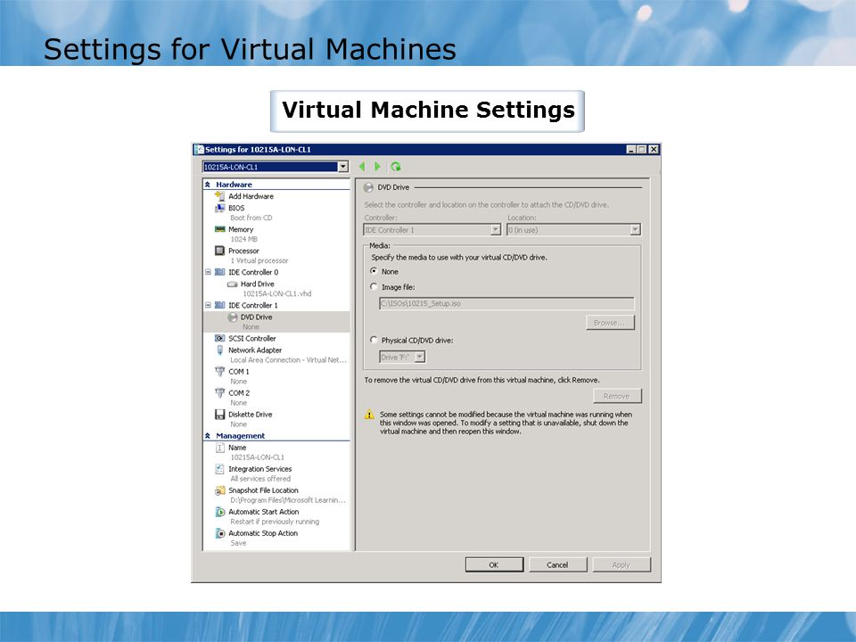 Settings for Virtual Machines