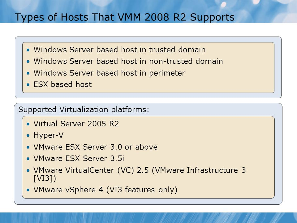 Types of Hosts That VMM 2008 R2 Supports