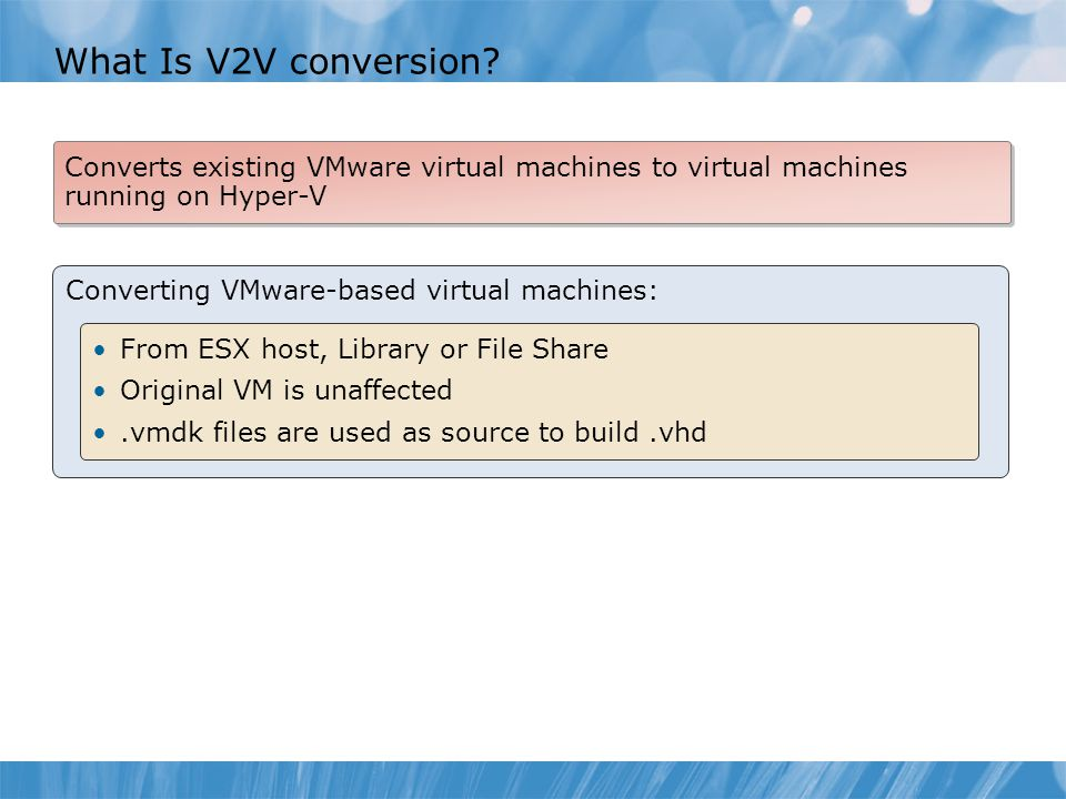 What Is V2V conversion Converts existing VMware virtual machines to virtual machines running on Hyper-V.