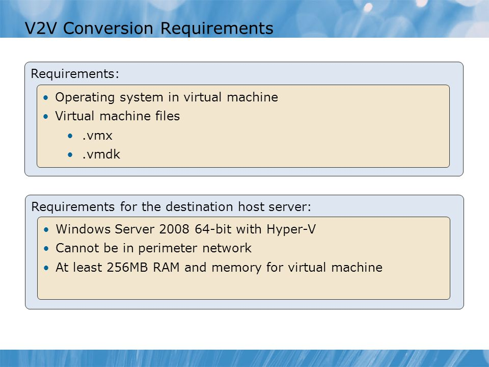 V2V Conversion Requirements