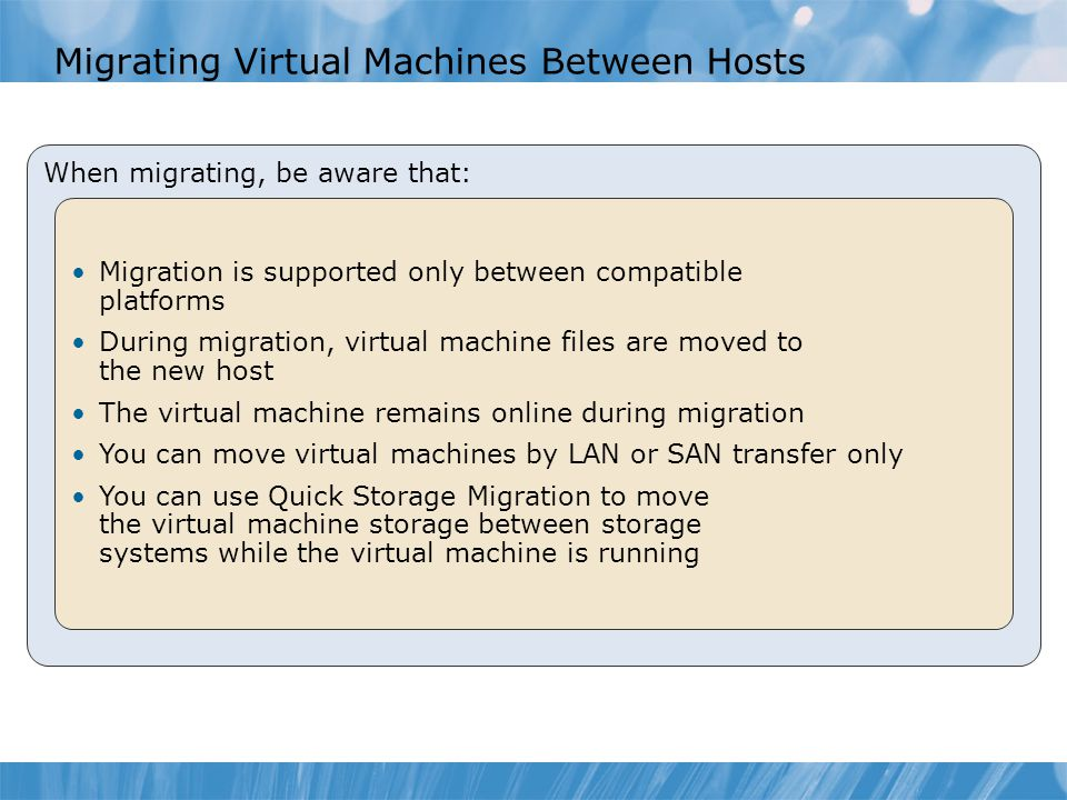 Migrating Virtual Machines Between Hosts