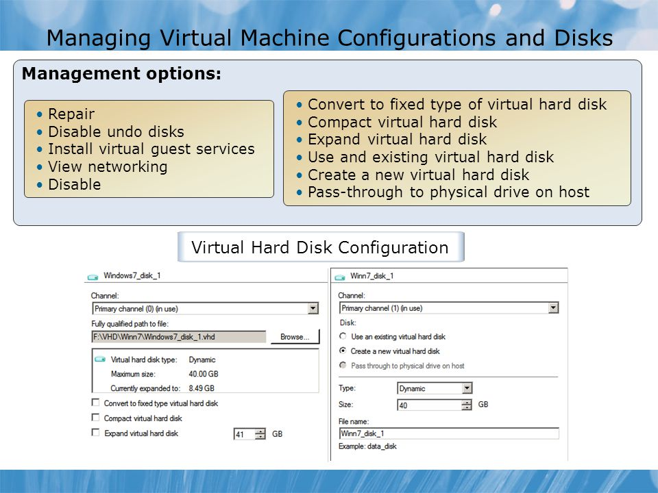 Managing Virtual Machine Configurations and Disks