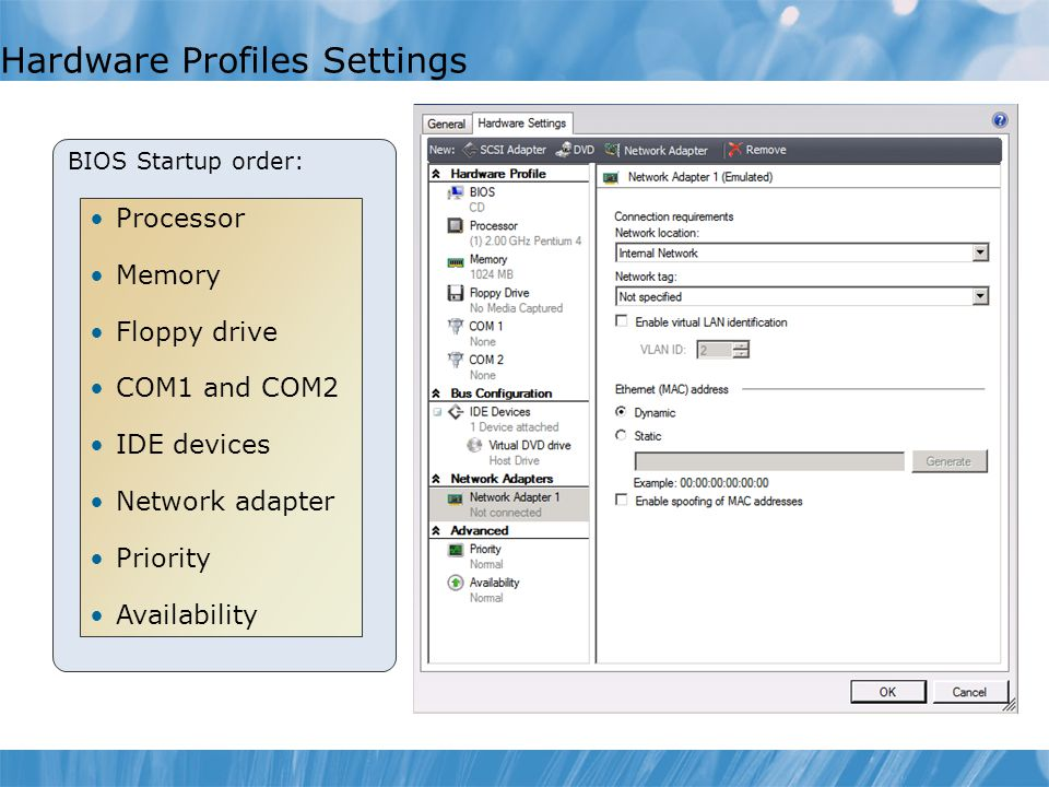 Hardware Profiles Settings