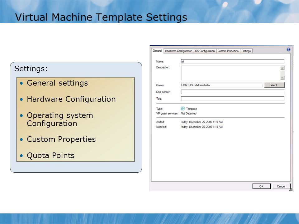 Virtual Machine Template Settings