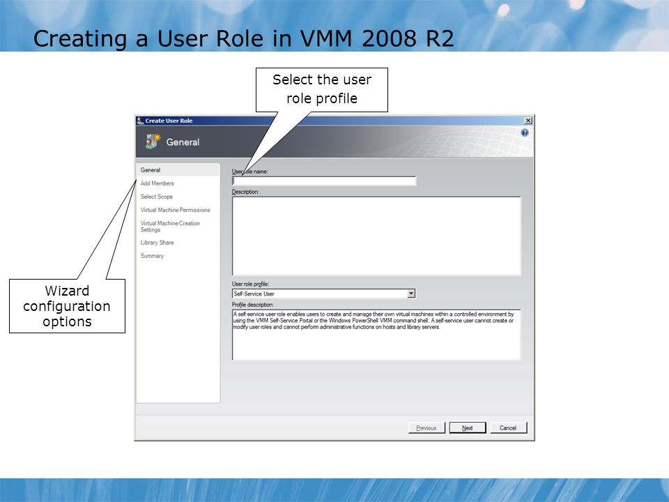 Creating a User Role in VMM 2008 R2