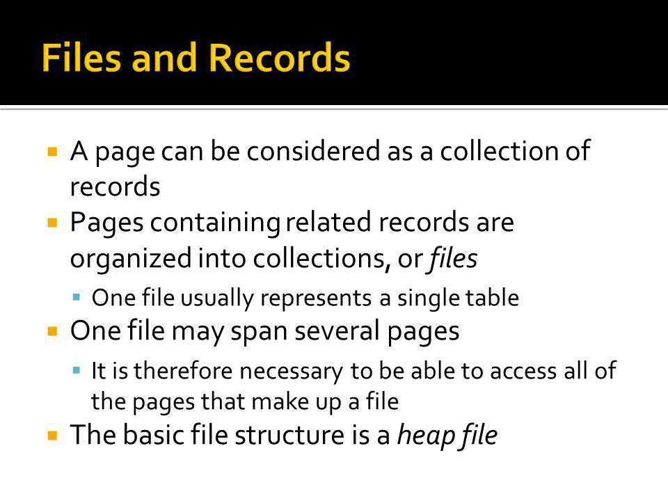 Files and Records A page can be considered as a collection of records