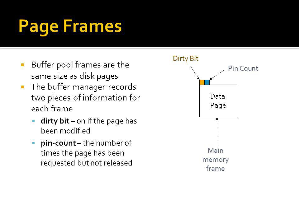 Page Frames Buffer pool frames are the same size as disk pages