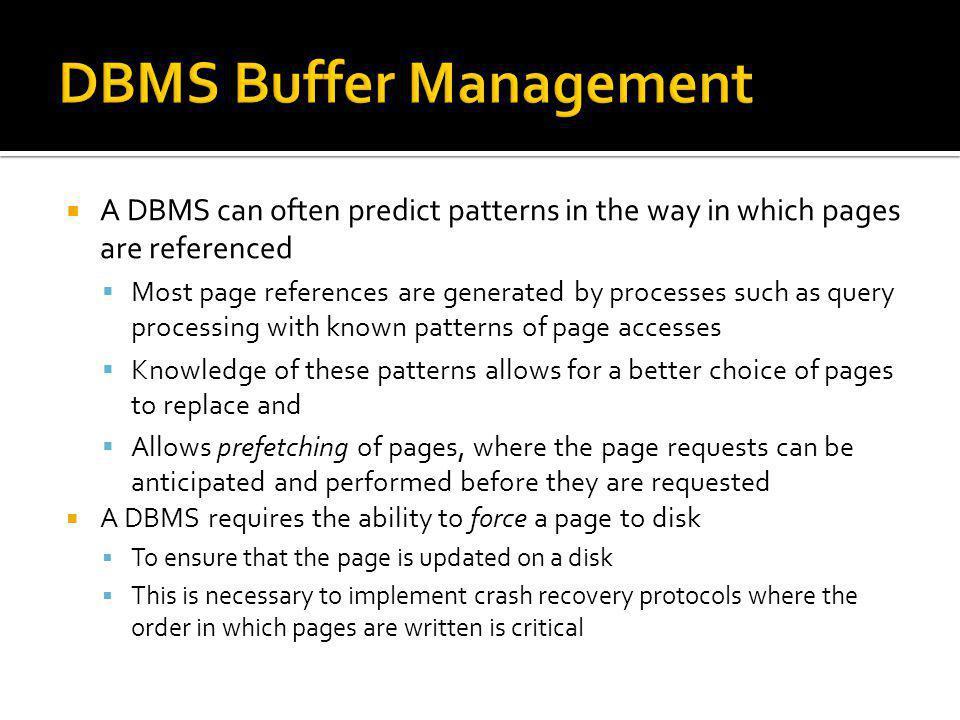 DBMS Buffer Management