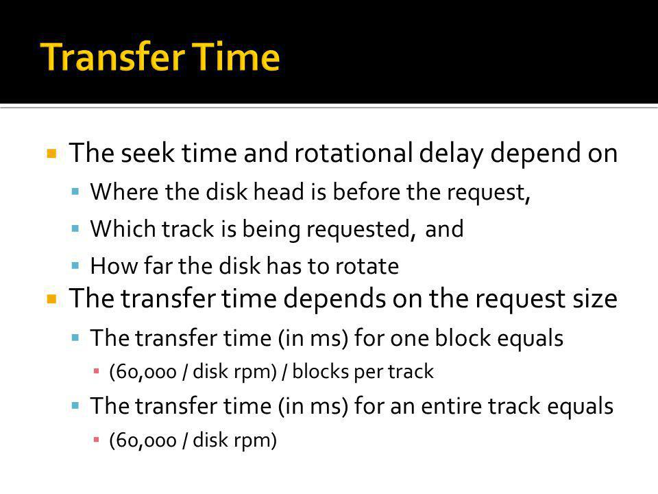 Transfer Time The seek time and rotational delay depend on