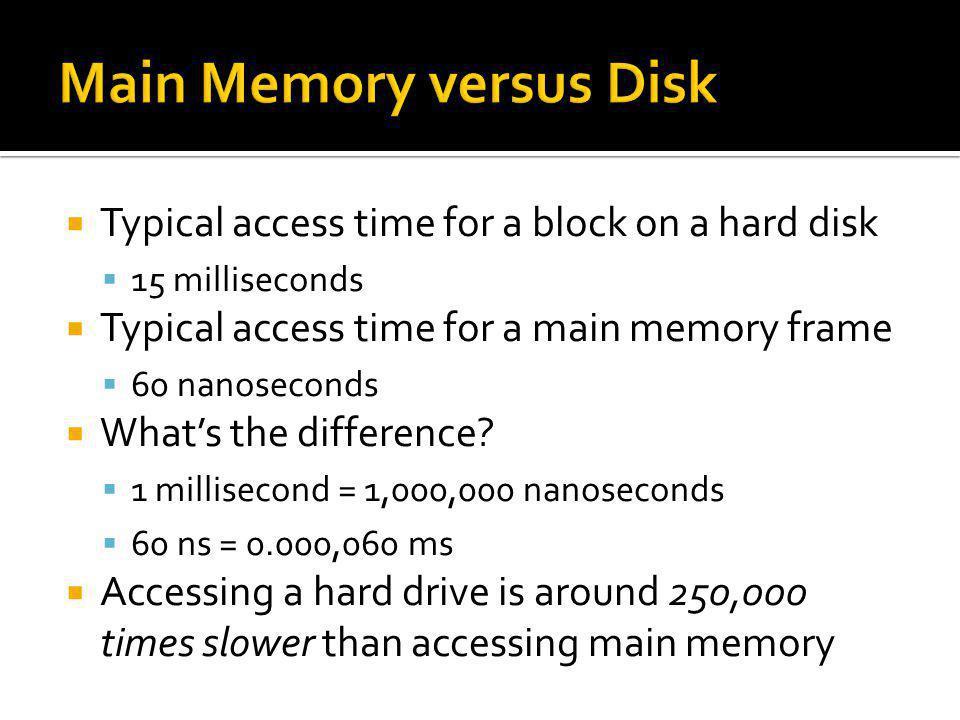 Main Memory versus Disk