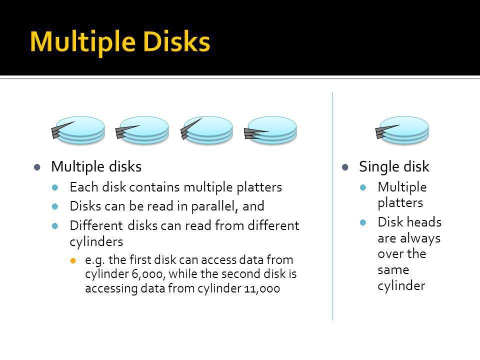 Multiple Disks Multiple disks Single disk