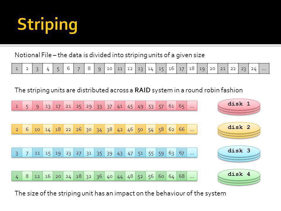 Striping Notional File – the data is divided into striping units of a given size. 1. 2. 3. 4. 5.