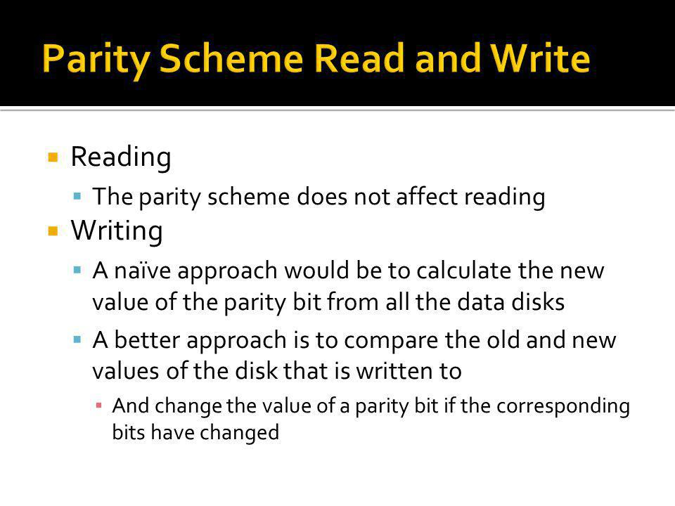 Parity Scheme Read and Write