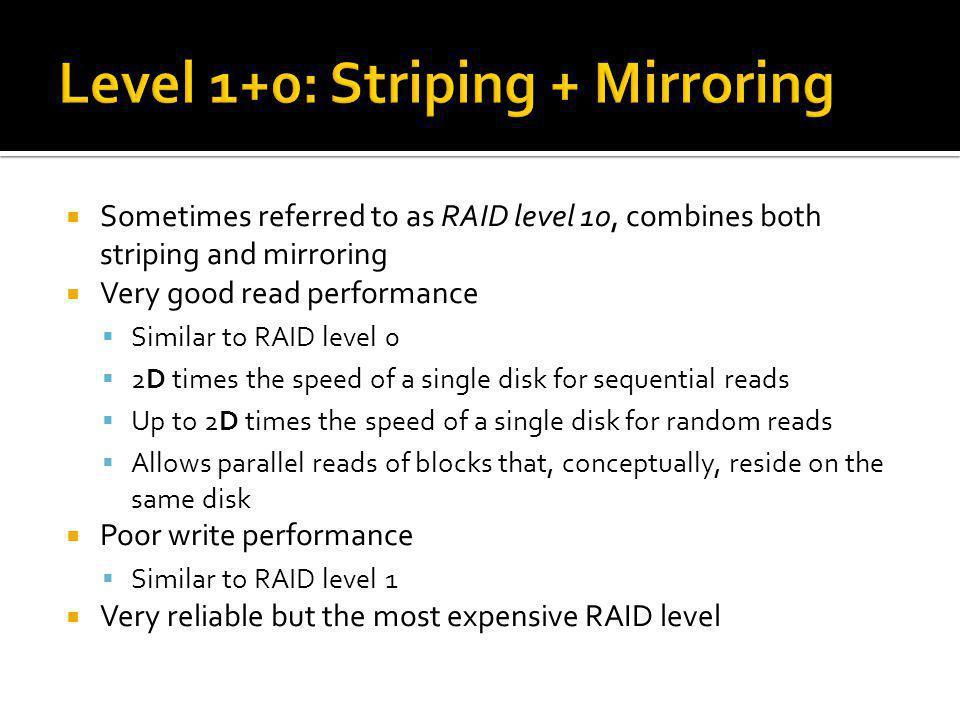 Level 1+0: Striping + Mirroring