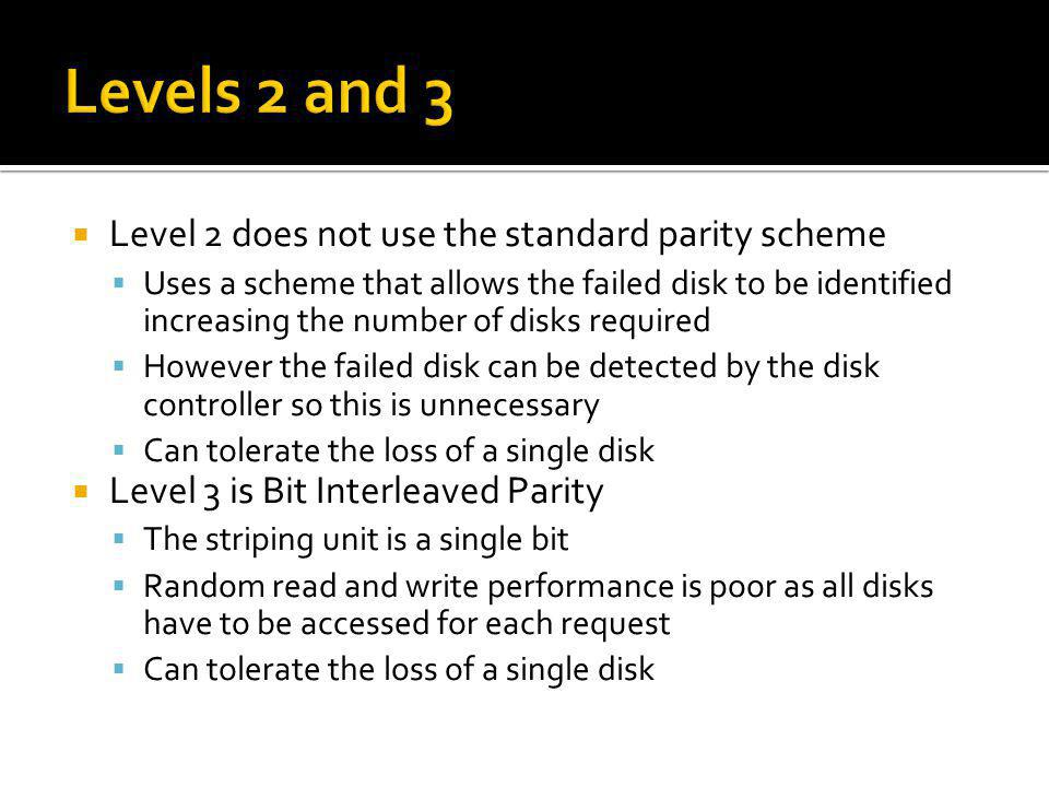 Levels 2 and 3 Level 2 does not use the standard parity scheme