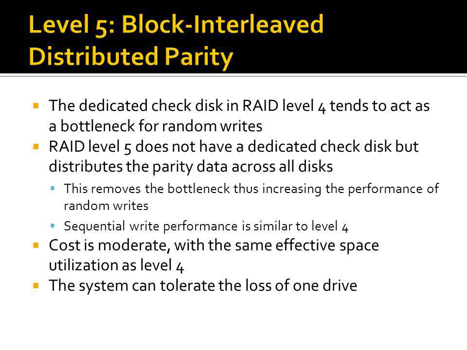 Level 5: Block-Interleaved Distributed Parity